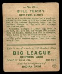 1933 Goudey #20   Bill Terry Back Thumbnail