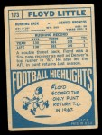 1968 Topps #173   Floyd Little Back Thumbnail