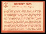 1964 Topps #41  Friendly Foes  -  Willie McCovey / Leon Wagner Back Thumbnail