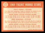 1964 Topps #312  Tigers Rookies  -  Fritz Fisher / Fred Gladding Back Thumbnail