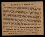 1941 Gum Inc. War Gum #43   2nd Lieut. A R Nininger, Jr. Back Thumbnail