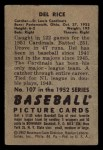 1952 Bowman #107  Del Rice  Back Thumbnail