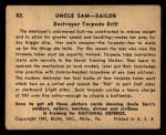 1941 Gum Inc. Uncle Sam Home Defense #82   Destroyer Torpedo Drill Back Thumbnail