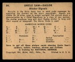 1941 Gum Inc. Uncle Sam Home Defense #84  Blinker Signals  Back Thumbnail