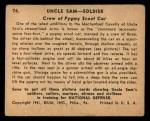 1941 Gum Inc. Uncle Sam Home Defense #76   Crew Of Pygmy Scout Car Back Thumbnail