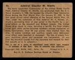 1941 Gum Inc. War Gum #46   Admiral Chester W. Nimitz Back Thumbnail