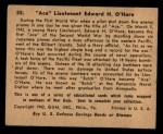 1941 Gum Inc. War Gum #55  Ace Lieutenant Edward H. O'hare  Back Thumbnail