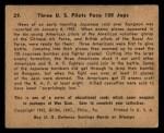 1941 Gum Inc. War Gum #29  Three U.S. Pilots Face 108 Japanese  Back Thumbnail