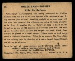 1941 Gum Inc. Uncle Sam Home Defense #75  Rifle Air Defense  Back Thumbnail