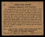 1941 Gum Inc. Uncle Sam Home Defense #57  Loading Submarine With Torpedoes  Back Thumbnail