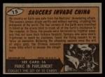 1962 Bubbles Inc Mars Attacks #15   Saucers Invade China  Back Thumbnail