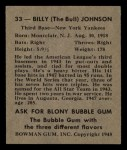 1948 Bowman #33  Billy Johnson  Back Thumbnail