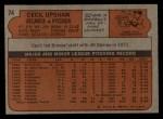 1972 Topps #74   Cecil Upshaw Back Thumbnail