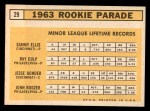 1963 Topps #29 COR  Rookie Stars  -  Sammy Ellis / Ray Culp / John Boozer / Jesse Gonder Back Thumbnail