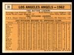 1963 Topps #39 *WHI*  Angels Team Back Thumbnail