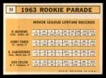 1963 Topps #54 COR  Rookies   -  Dave DeBusschere / Nelson Matthews / Harry Fanok / Jack Cullen Back Thumbnail