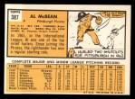 1963 Topps #387 COR  Al McBean Back Thumbnail