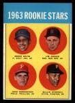 1963 Topps #553   Rookie Stars  -  Willie Stargell / Jim Gosger / Brock Davis / John Herrnstein Front Thumbnail