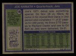 1972 Topps #100  Joe Namath  Back Thumbnail