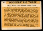 1963 Topps #412  Dodgers' Big 3  -  Johnny Podres / Don Drysdale / Sandy Koufax Back Thumbnail