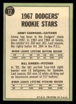 1967 Topps #12   Dodgers Rookie Stars  -  Jim Campanis / Bill Singer Back Thumbnail