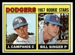 1967 Topps #12   Dodgers Rookie Stars  -  Jim Campanis / Bill Singer Front Thumbnail