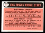 1966 Topps #518  Braves Rookies  -  Herb Hippauf / Arnie Umbach Back Thumbnail