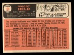 1966 Topps #136  Woodie Held  Back Thumbnail