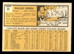 1963 Topps #91  Dallas Green  Back Thumbnail