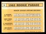 1963 Topps #54 ^COR^  -  Dave DeBusschere / Nelson Matthews / Harry Fanok / Jack Cullen  Rookies  Back Thumbnail