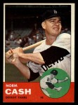 1963 Topps #445 COR  Norm Cash Front Thumbnail