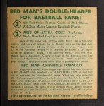 1952 Red Man #8 NLx  Jim Hearn Back Thumbnail