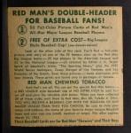 1952 Red Man #13 ALx George Kell  Back Thumbnail