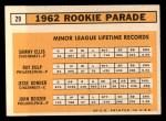 1963 Topps #29 ERR 1962 Rookie Stars  -  Sammy Ellis / Ray Culp / John Boozer / Jesse Gonder Back Thumbnail