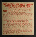 1953 Red Man #14 ALx Early Wynn  Back Thumbnail