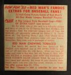 1953 Red Man #21 ALx Mickey Vernon  Back Thumbnail