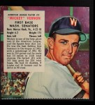 1953 Red Man #21 ALx Mickey Vernon  Front Thumbnail