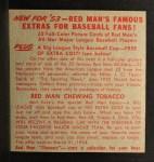 1953 Red Man #21 NLx Hoyt Wilhelm  Back Thumbnail