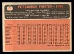 1966 Topps #404 COR Pirates Team  Back Thumbnail