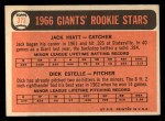 1966 Topps #373  Giants Rookies  -  Jack Hiatt / Dick Estelle Back Thumbnail