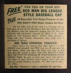 1954 Red Man #16 NLx  Duke Snider Back Thumbnail