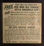 1954 Red Man #19 NLx  Enos Slaughter Back Thumbnail