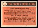 1966 Topps #584  Yankees Rookies  -  Fritz Peterson / Frank Fernandez Back Thumbnail