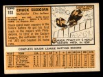 1963 Topps #103   Chuck Essegian Back Thumbnail