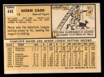 1963 Topps #445 ERR  Norm Cash Back Thumbnail