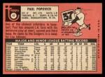 1969 Topps #47 C  Paul Popovich Back Thumbnail