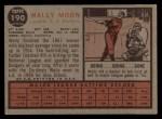 1962 Topps #190 CAP  Wally Moon Back Thumbnail