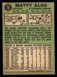 1967 Topps #10   Matty Alou Back Thumbnail