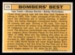 1963 Topps #173  Bomber's Best  -  Tom Tresh / Mickey Mantle / Bobby Richardson Back Thumbnail