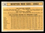 1963 Topps #202  Red Sox Team  Back Thumbnail